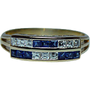 H Stern Asscher Diamond Sapphire 18K Gold Ring Vintage Estate Designer Signed