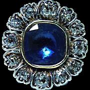 Antique Old Miner Mine cut Diamond Blue Sapphire Stone Ring 14K Gold Estate