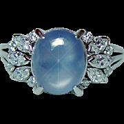 Vintage Platinum 3.5ct Star Sapphire Marquise Diamond Ring Estate