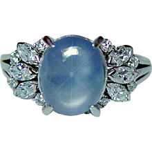 Vintage Platinum 3.5ct Star Sapphire Marquise Diamond Ring Estate