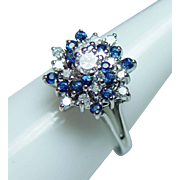 Vintage Sapphire VS-EF Diamond Cluster Ring 14K White Gold Estate