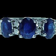 Vintage 14K White Gold Ceylon Sapphire Diamond 3 stone Ring Estate