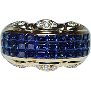 Vintage TYCOON 3ct Kashmir Color Sapphire Diamond Ring 18K Gold Estate Heavy Size 10.5