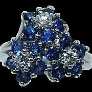 Vintage Gem Sapphire Diamond Flower Ring 14K White Gold Estate