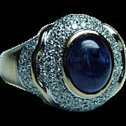 Vintage 18K Gold 4ct Sapphire Diamond Ring Estate VS-G Designer Signed