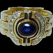 Vintage Diamond Sapphire Band Ring 18K Gold Estate Jewelry HEAVY Size 9.5