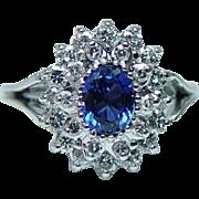 Vintage Sapphire Diamond Halo Ring 18K White Gold Signed Estate Jewelry