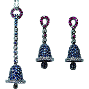 Vintage 18K White Gold Diamond Sapphire Necklace Earrings Designer Set Estate