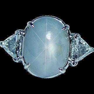 Vintage 11ct Star Sapphire 1ct Trillion Diamond 3 stone Ring 14K White Gold Estate