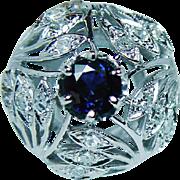 Vintage Sapphire Diamond Cocktail Ring 14K White Gold Large Estate