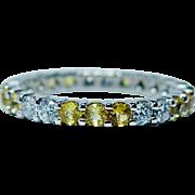 Vintage Diamond Yellow Sapphire Eternity Ring Band 18K White Gold Estate Size 7.5
