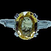 Vintage Platinum Ceylon Sapphire Canary Yellow Diamond Baguette 3 stone Ring Estate