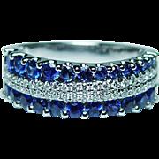 Vintage Ceylon Sapphire Diamond Asymmetric Band Ring 18K White Gold Estate