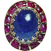 Vintage Giant 22ct Tanzanite Carved Ruby Halo Ring 14K Gold Heavy Estate