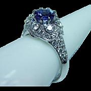 Vintage 18K White Gold Gem Tanzanite VS-G Diamond Halo Ring Estate