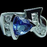 Vintage Tanzanite Diamond Ring 14K White Gold Heavy 2.5ct Gem Estate