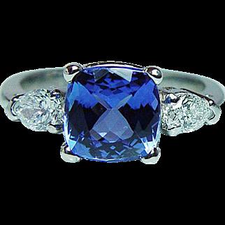 Vintage 2.2ct Cushion Tanzanite Pear Diamond 3 stone Ring Platinum Estate