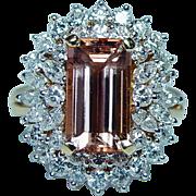 Vintage Marquise Diamond 4.22ct Imperial Topaz Ring 18K Gold Estate GIA