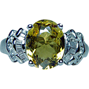 Vintage 14K White Gold Yellow Tourmaline Baguette Diamond Ring Estate 4ct Size 9