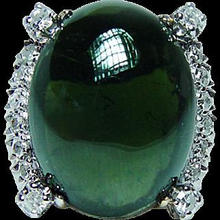 Vintage 17ct Green Tourmaline Colorless Diamond 18K Gold Ring Estate