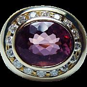 Vintage 5.5ct Flawless Pink Tourmaline Diamond Ring 14K Gold HEAVY 11gr Estate