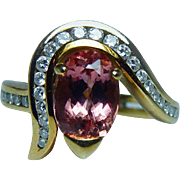 Vintage 3ct Flawless Pink Imperial Topaz Diamond 18K Gold Ring Estate