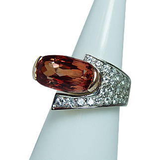 Vintage 5ct Flawless Cushion Imperial Topaz Diamond 14K Gold Ring Heavy Designer Estate