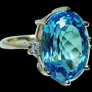 Vintage H Stern 15ct Topaz Diamond Large Ring 18K Gold Designer Signed Box