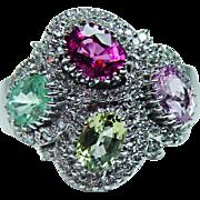 Vintage Paraiba Tourmaline Diamond Ring 18K White Gold Heavy Estate Size 10