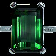 Vintage 10.3ct Tourmaline Asscher Diamond Ring 18K White Gold Estate