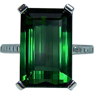 Vintage 10.3ct Tourmaline Asscher Diamond Ring 18K White Gold Estate
