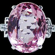 Vintage 20ct Flawless Pink Tourmaline Diamond Ring Platinum Estate Jewelry