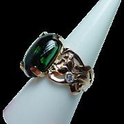 Vintage 13ct Green Tourmaline Diamond Lotus Ring 18K Pink Gold Hefty Estate