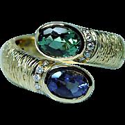 Vintage 18K Gold Tourmaline Iolite Diamond Ring Heavy Estate Designer Signed