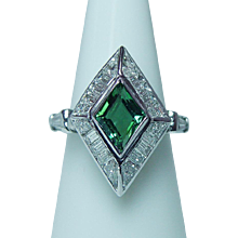 Vintage Tourmaline VVS-F Baguette Trillion Diamond Ring Platinum Estate