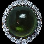 Giant Vintage 22ct Green Tourmaline Old European Diamonds 14K Gold Ring Heavy Estate