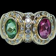 Vintage Green Pink Tourmaline Diamond Ring 18K Gold Estate