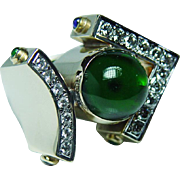 Vintage Tourmaline Sapphire Emerald Ruby Diamond 14K Gold Ring Heavy Estate