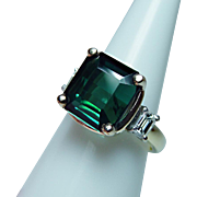 Vintage 18K Platinum Blue Green Tourmaline Emerald cut Diamond 3 stone Ring Estate