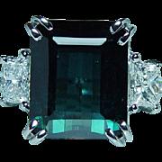 Vintage 18K White Gold Indicolite Blue Tourmaline Bullet Diamond 3 stone Ring Estate