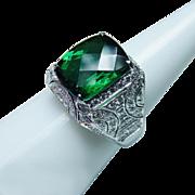 Vintage Cushion Tourmaline Diamond Ring 18K White Gold 5.7ct Estate