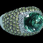Vintage 18K White Gold Diamond Mint Green Tourmaline Ring Heavy Estate 6ct
