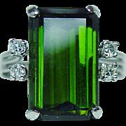 Vintage 7ct Tourmaline Diamond Platinum Ring Great Color Estate