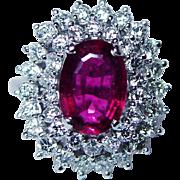 Vintage 18K White Gold Rubellite Tourmaline Diamond Ring Estate $6,000 EGL Certified