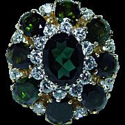 Vintage 18K Gold Tourmaline Diamond Ring Estate Heavy Massive 12.4ct Sz10