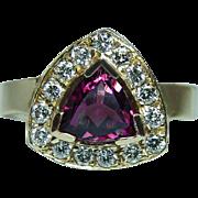 Vintage Tourmaline Diamonds Ring 14K Gold Estate