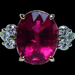 Vintage 6ct Rubellite Tourmaline Diamonds Ring 18K Gold Estate