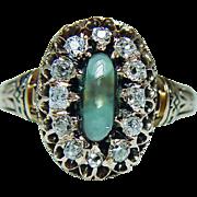 Antique Victorian Green Teal Tourmaline Miner Diamond Ring 14K Pink Gold Estate circa 1870