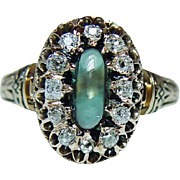 Antique Victorian Green Teal Tourmaline Miner Diamond Ring 14K Pink Gold Estate circa 1870