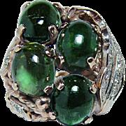 Vintage 11ct Tourmaline Diamond Ring 18K Rose Gold Estate Heavy Massive